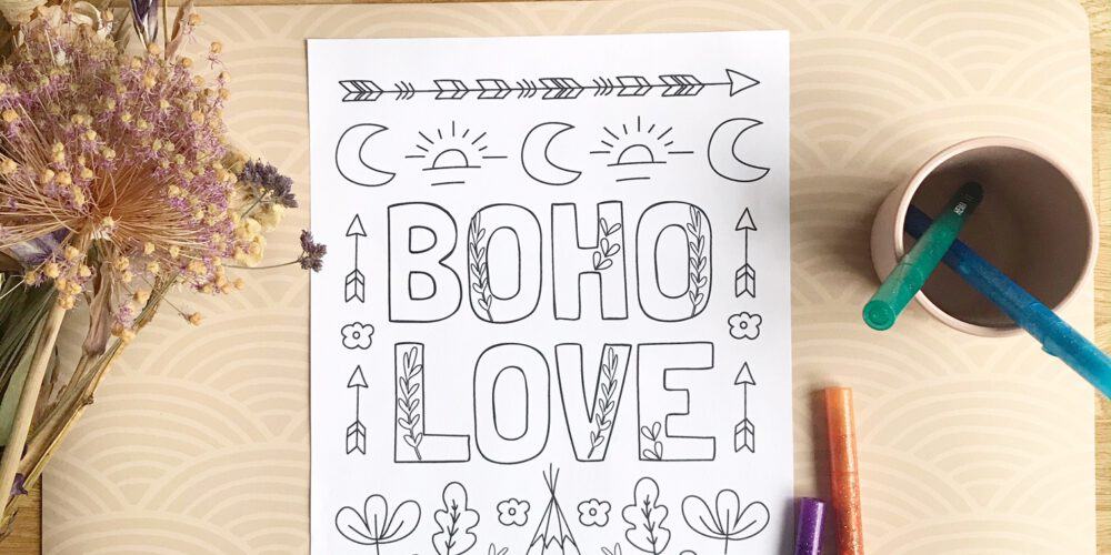 boho love kleurplaat printable