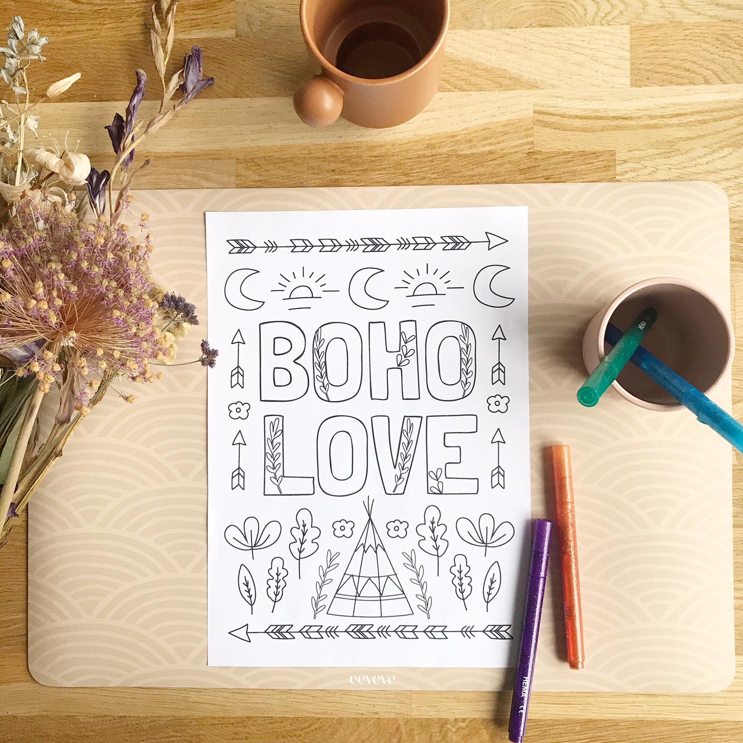 boho love kleurplaat printable