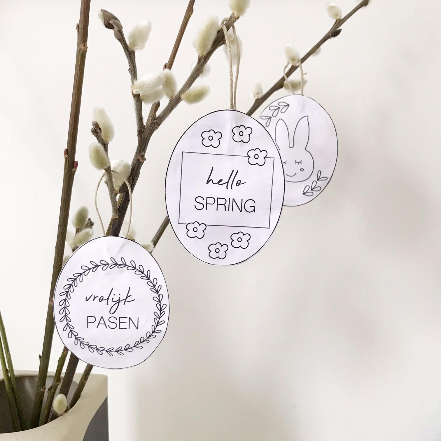 gratis printable Pasen paashangers knutselen met kinderen